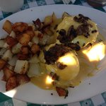 One of today's specials was crab cake eggs Benedict , I added mushrooms to top it off for an ext