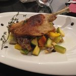 Oven roast French duck leg confit with ratatouille and mashed potato