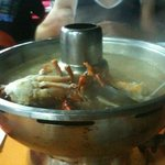 Some crabs cooking in our steam boat feast at a recommended restaurant