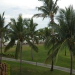 view from the balcony to the beach
