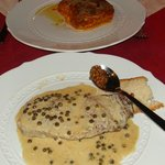 Contro fillet(sirloin steak with greenpeppercorn) and lasagna
