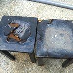 damaged desks in the courtyard