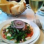 Warm bread, spinach salad and a pinot grigio