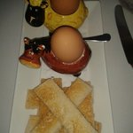 Even boiled eggs & toast soldiers presented with panache!