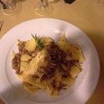 fresh, home made wide pasta with mushroom sauce. Sooooo Good !