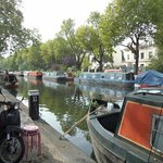narrow boats at Little Venice, where the Grand Union Canal begins