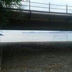 the beach of the hotel- under the bridge