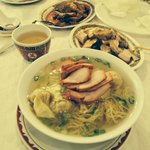 Wonton Soup with side dishes of pork and duck with Oolong Tea