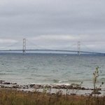 View of Mackinaw Bridge from cabin