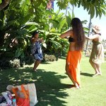 Hula class on the hotel grounds....