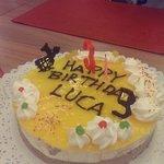 Luca's birthday cake in the Hotel