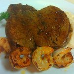 Filet Mignon served with grilled Shrimp