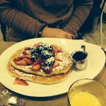 Try the yummy pancakes, fruit & maple syrup!
