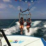 the kids parasailing