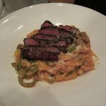 Tri Color Fettuccine with Beef Tenderloin-Sausage Ragu