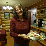 Liz Jackson, awesome cook, during breakfast at Skyline Guest Ranch  B & B