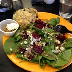 spinach salad - I added my own roasted beets that I brought because of a specific diet i was on.