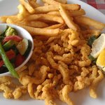 fried clams with salty veggies