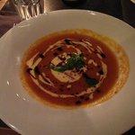 Pumpkin Soup with Cheese Fondue