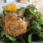 Crab cake with birds nest filo