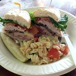 ham po'boy with pasta salad
