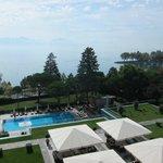 overlooking outdoor pool toward Lake Zurich
