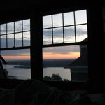 The view of the sunrise from bed