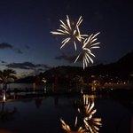 wedding fireworks at sunset