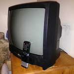 TV with duct taped remote