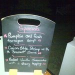 interesting presentation of the evening's specials