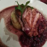 Duck breast with red berries