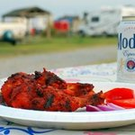 chicken BBQ on the camp ground of KOA, cape hatteras, nc