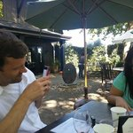 Sipping the grape in the patio at Honig Winery