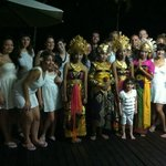 Group shot will the Balinese dancers poolside