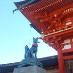 temple with fushimi inari stone statue.