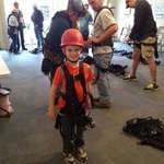 My 8 yr old son right before his first zip line experience at Hidden Cave...he loved it!!