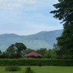 Blick durch den Garten auf die Gipfel des Ruwenzori Gebirges