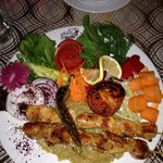 chicken kebabs at hotel restaurant