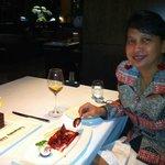 Sharing the fresh fig dessert during anniversary dinner
