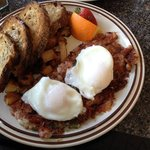 Hash & Perfectly poached eggs; Local toast