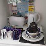 supplied utensils and appliances (also supplied dishwashing liquid)