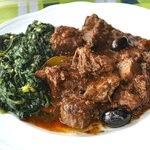 Cinghiale with olives and spinach