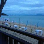 Beach tables at Chom Dao restaurant