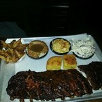 Full Rack of Ribs with Fries, Mashed Potatoes, Mac&Cheese, and Slaw
