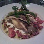 Seabass on parmaesan mash with asparagus and sauce vierge