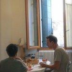 Enjoying a wonderful breakfast in our room.