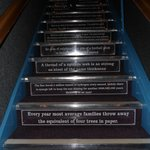 Even the stairs had stuff to read...