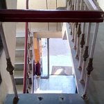 Railing of stair case.  Not safety for children