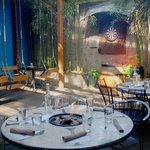 4 season patio with swings, fire tables and fun!