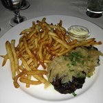Grilled hanger steak with shallots and house fries